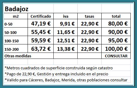 Certificado energetico Badajoz